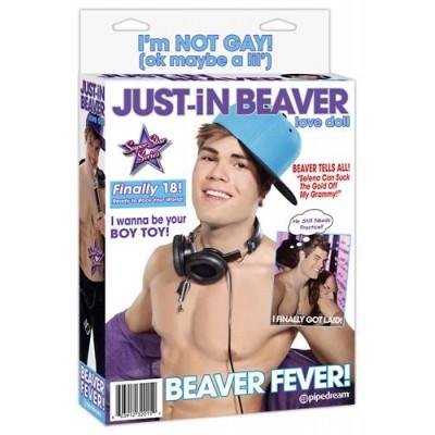 Dmuchana naturalna męska lalka Just-in-Beaver